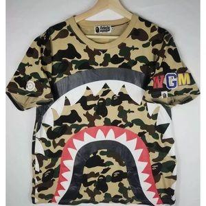 Vtg Y2K A Bathing Ape WGM Camo Shark T Shirt